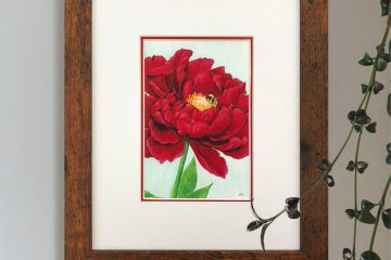 Red Peony and Bumblebee