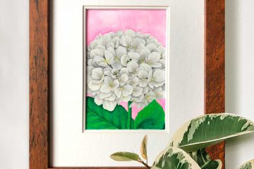 Framed White Hydrangea Painting